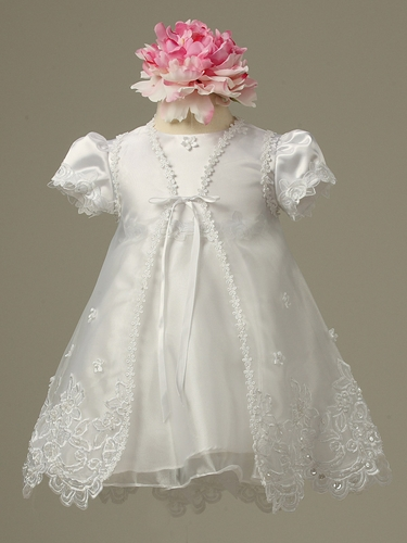 Girls Christening White Embroidered Organza Dress w/ Cape