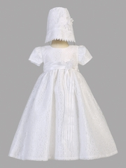 Girls Christening White Lace Tulle Dress w/Bonnet