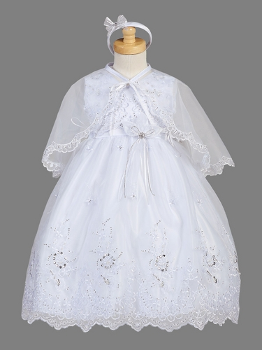 Girls Christening White Organza Overlay w/ Cape Dress