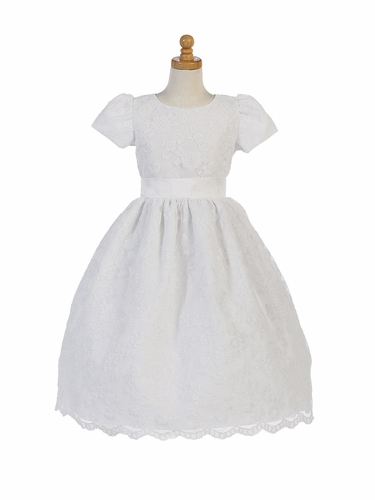 Girls Communion Corded Lace Dress