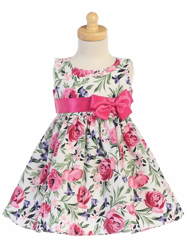 Girls Cotton Floral Print Dress w/ Fuchsia Sash