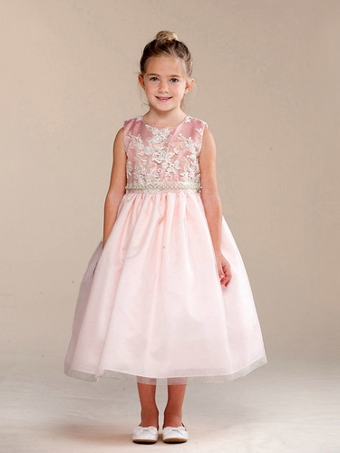 Girls Dusty Rose Embroidered Glitter Dress w/ Pearl Waistband