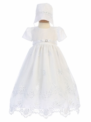 Girls' Embroidered Organza Christening Gown