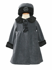 Girls Gray Rose Scroll Fleece Coat