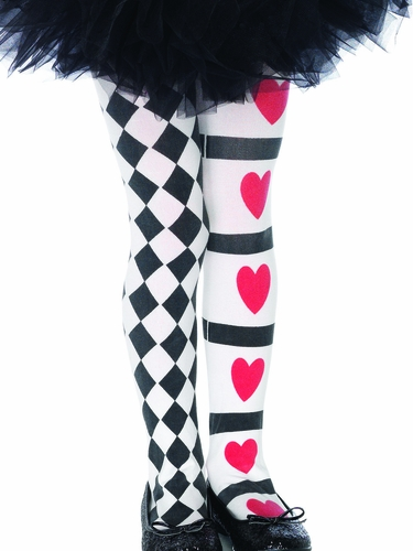 Girls Harlequin & Heart Tights