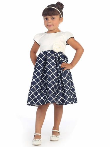 Girls Ivory Dress w/ Navy Diamond Skirt