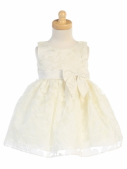 Girls Ivory Floral Burnout Organza Dress