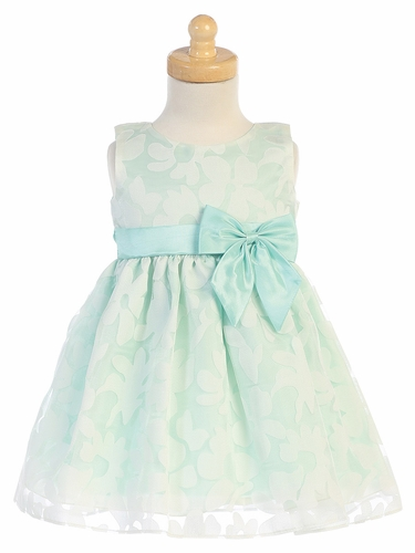 Girls Mint Floral Burnout Organza Dress