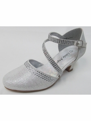 Girls Off White Low Heel Glitter & Rhinestone Shoe