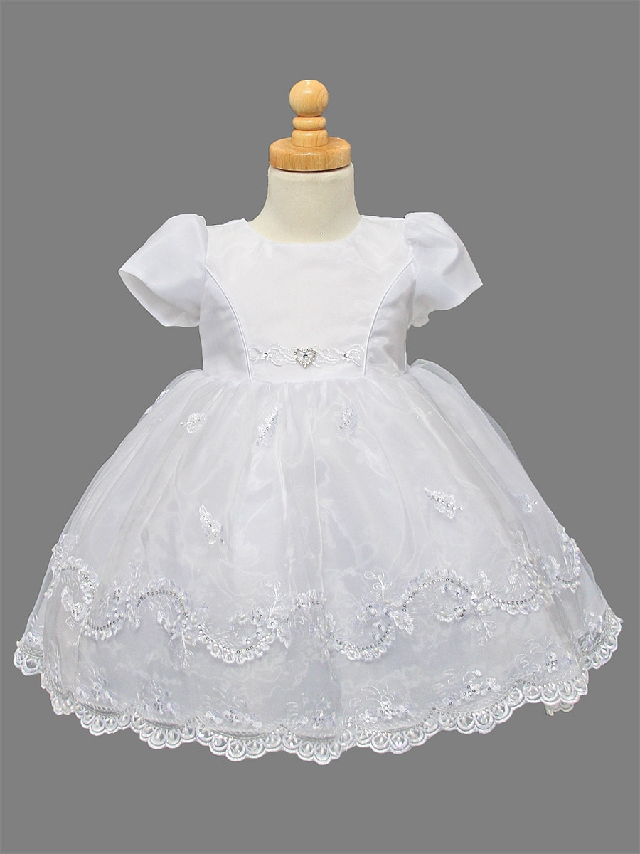 Girls Organza Christening Dress w/ Embroidered & Pearl Sequins Skirt