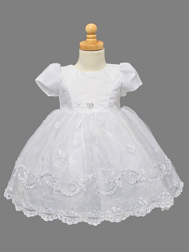 Girls Organza Christening Dress W Embroidered Amp Pearl