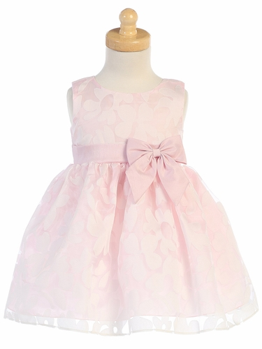 Girls Pink Floral Burnout Organza Dress