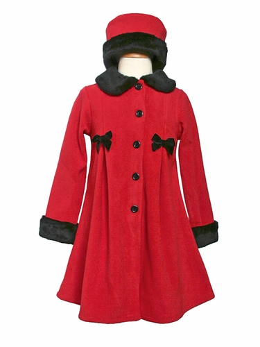 Girls Red Fleece Coat with Bows