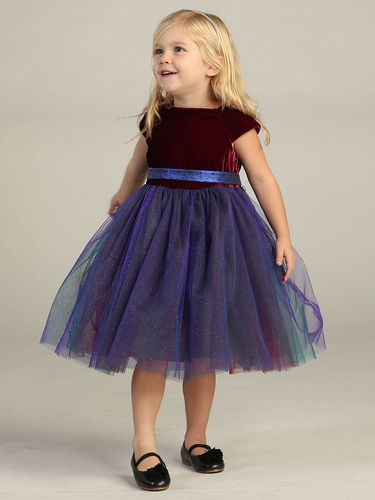 Girls Ruby Velvet Bodice w/ Plum Tulle Dress