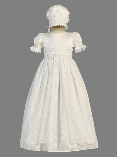 Girls Christening Silk Christening Gown w/ Embroidered Tulle