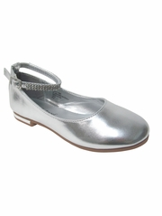 Girls Silver Dress Shoe w/ Rhinestone Strap