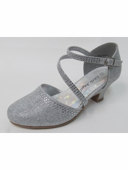 Girls Silver Low Heel Glitter & Rhinestone Shoe
