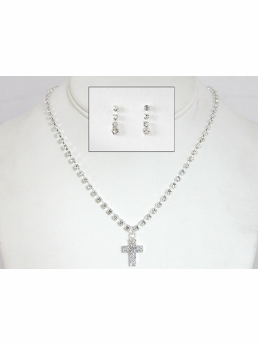 Girls Small Cross Necklace & Earring Set