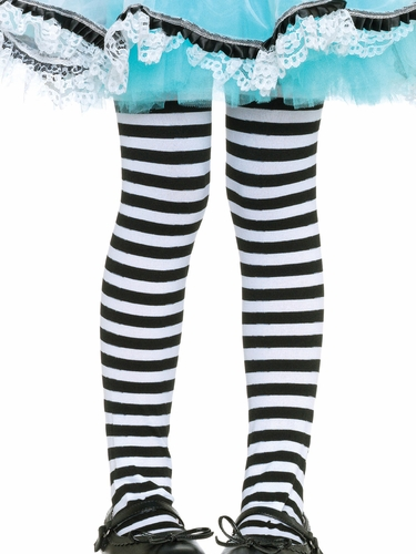 Girls Striped Black & White Tights