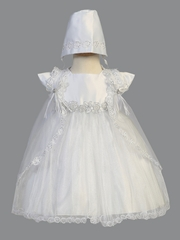 Girls White Christening Satin & Shimmering Tulle Dress w/ Cape