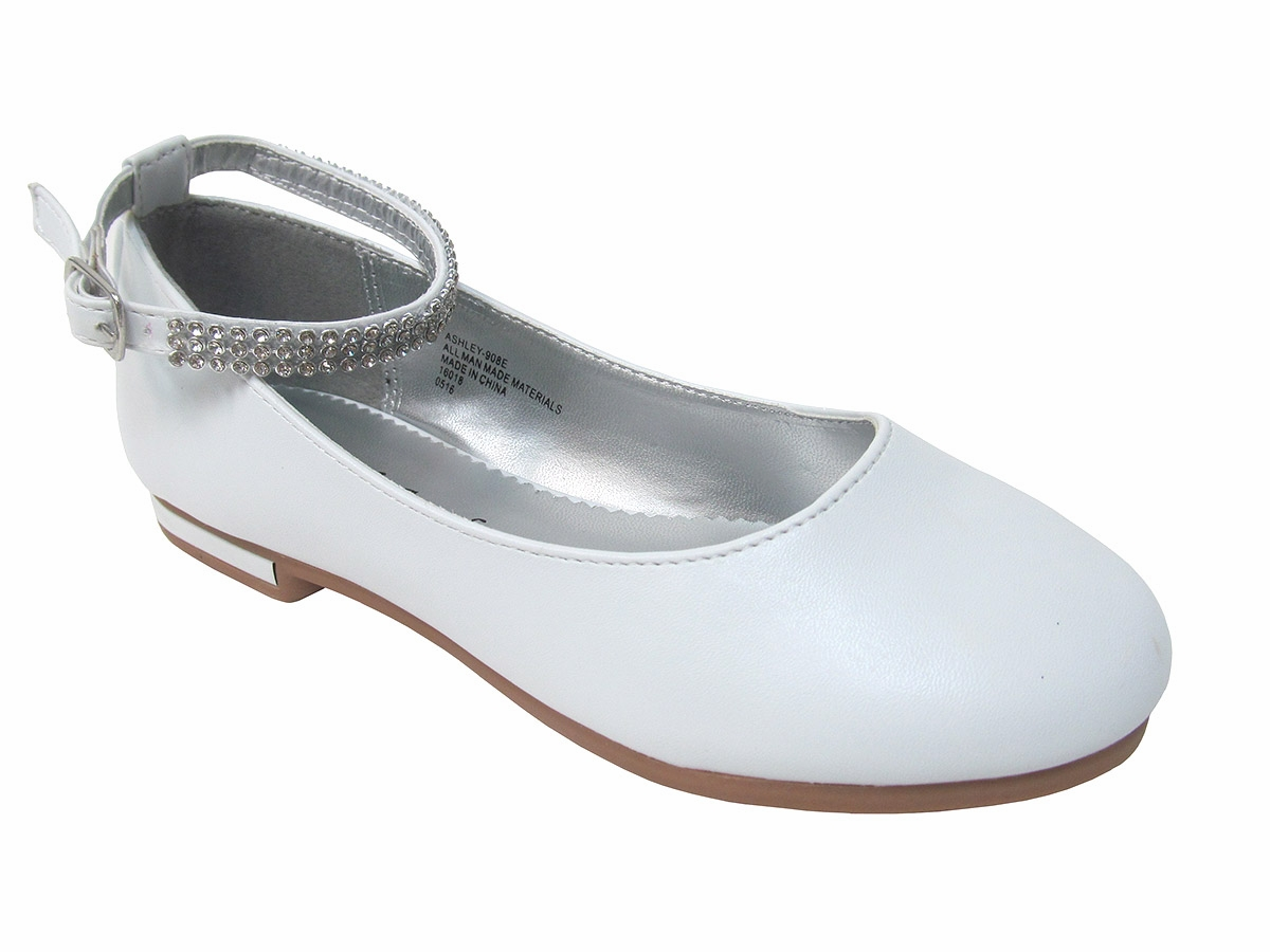 Girls White Flat Shoes w  Rhinestone Ankle Strap