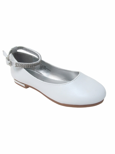 Girls White Dress Shoe w/ Rhinestone Strap