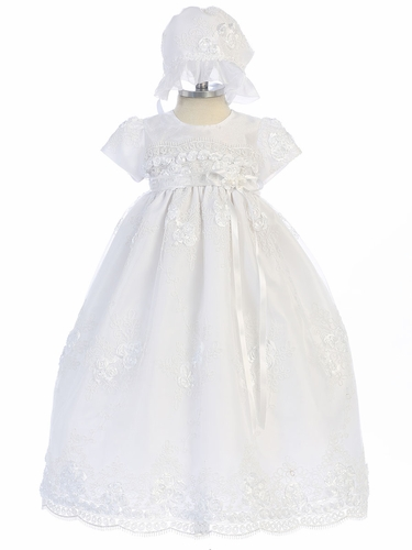 Girls White Lace Floral Ribbon Christening Gown w/ Bonnet