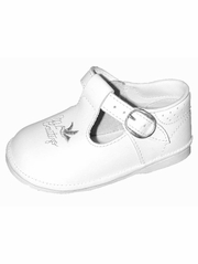 "Girls White ""Mi Bautizo"" Embroidered T-Strap Shoes"