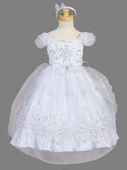 Girls White Organza Overlay w/ Train Christening Dress
