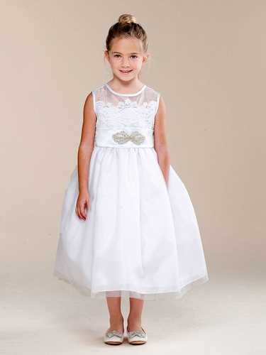 CLEARANCE - Girls White Vintage Lace & Brooch Dress