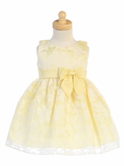 Girls Yellow Floral Burnout Organza Dress
