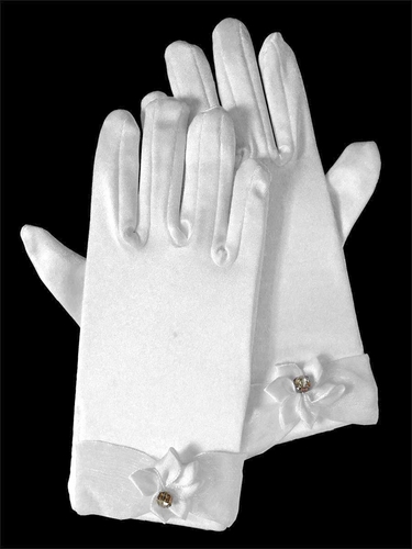 Gloves w/ Flower & Rhinestone Accents
