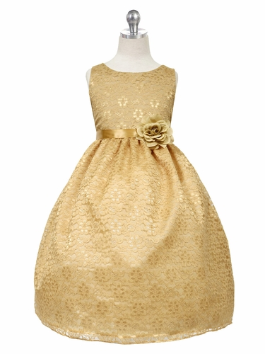 Gold Floral Lace Dress