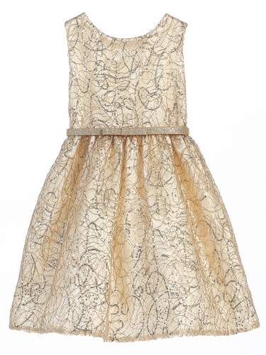 Gold Metallic Chord Embroidered Dress w/ Belt