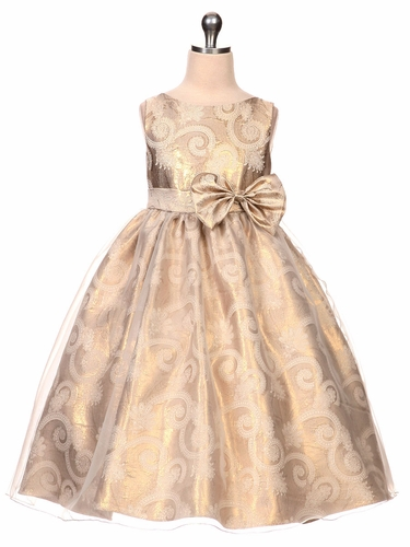 Gold Organza Overlay Jacquard Dress