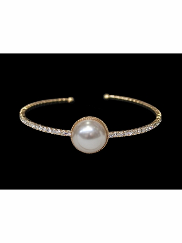 Gold Rhinestone & Pearl Bangle