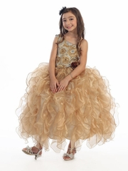 Gold Ribboned Bodice w/ Ruffled Organza Skirt