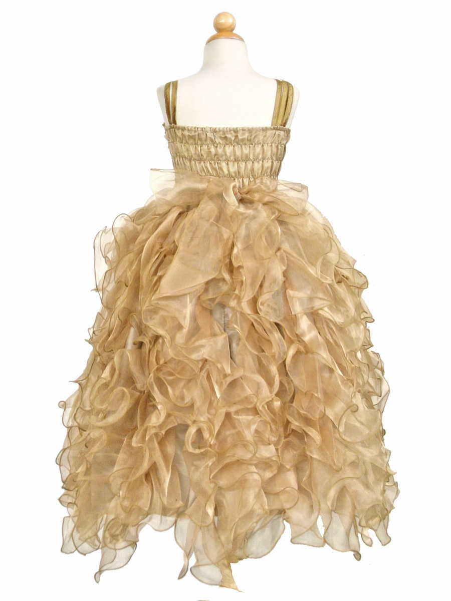 Ruffled Organza Skirt With Embroidered And Beaded Bodice: Gold Ribboned Bodice W/ Ruffled Organza Skirt