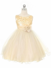 Gold Sequined Bodice w/ Double Layered Mesh Dress