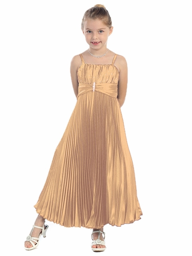 Gold Shiny Satin Pleated Long Dress