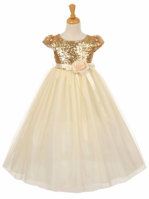 63eb4c7955c Champagne   Gold Flower Girl Dresses - PinkPrincess.com