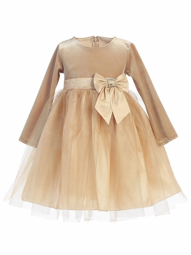 Gold Stretch Velvet w/ Glitter Tulle & Bow Dress