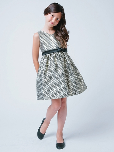 Gold V-Neck Polka Dot Jacquard Dress
