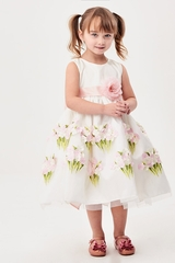 Good Girl 3582 Pink 3D Floral Dress w/ Sash