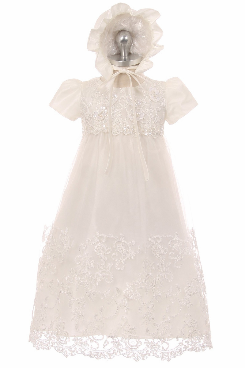 f32da64a26b Click to Enlarge Click to Enlarge. Good Girl 3586 White Baby Lace Christening  Gown w  Bonnet   Puff Shoulder Sleeve