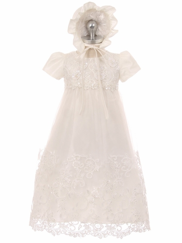 Good Girl 3586 White Baby Lace Christening Gown w/ Bonnet & Puff Shoulder Sleeve
