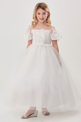 Good Girl 3588 White Communion Dress w/ Mesh Floral Lace Bodice & Bell Sleeves