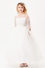 Good Girl 3589 White 3/4 Sleeve Embroidered Lace Overlay Tulle Dress