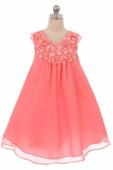 Good Girl 3591 Coral Floral V-Neck Dress