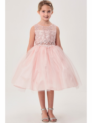 Good Girl 3592 Blush Pink Floral Bodice w/ Illusion Neckline and Tulle Skirt